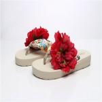 2015 Bohemia fashion handmade flowers beach sandals female anti-sandal flip flops with thick bottom Slippers & Flip-Flops