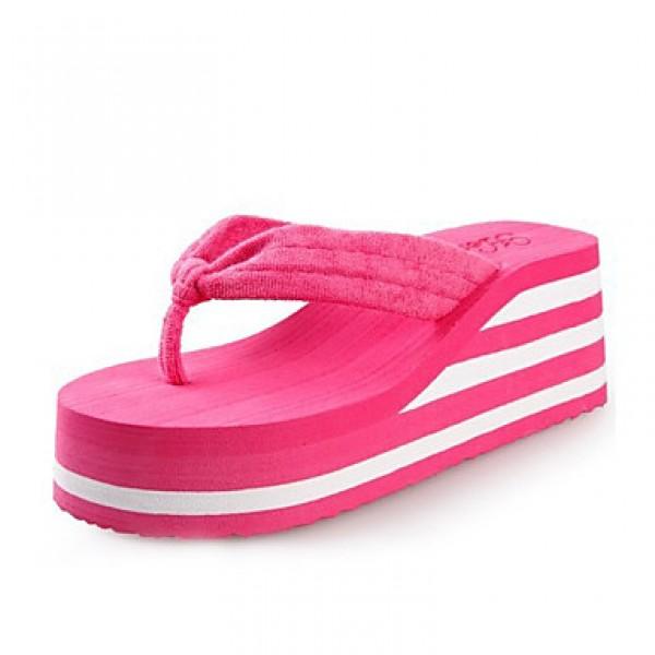 Women's Shoes Nz PVC Flat Heel Flip Flops Slippers Outdoor Black / Yellow / Pink / Red / White Slippers & Flip-Flops
