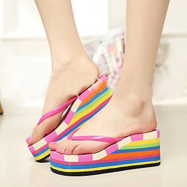 Women's Shoes Nz PVC Flat Heel Flip Flops Slippers Outdoor Blue / Purple / Red Slippers & Flip-Flops