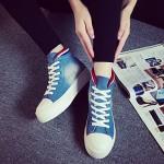 2015 New Arrival Spring/Autumn Style Shoe Walking Denim Canvas Sneakers Platform Black/Light Blue/Dark Blue Sneakers