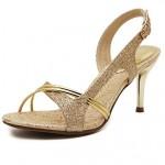 Women's Shoes Nz Leather Stiletto Heel Slingback Sandals Party Gold Women's Sandals